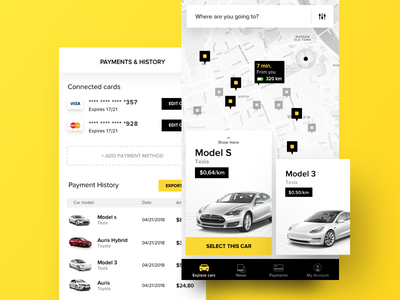Autopilot Car Rental App product concept ux search tesla map payments ui card rental car