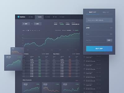 TradeFarm - cryptocurrencies trade-platform dark ui bitcoin ux ui business analytics transaction deal trading trade crypto