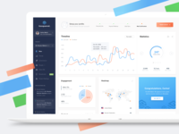 GoSquared - Redesign admin panel settings data notifications profile map stats statistics graph chart dashboard