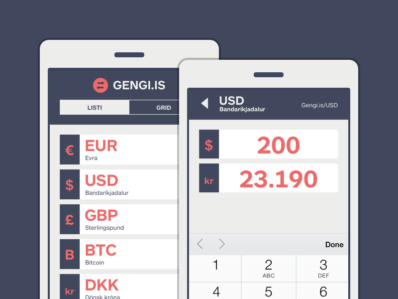 Gengi.is (Minimalist Currency Converter) ui ux @2x converter currency form5 mobile-first