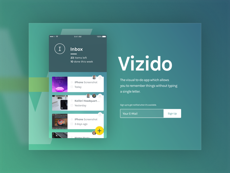 Vizido Teaser Landing Page landing teaser app web