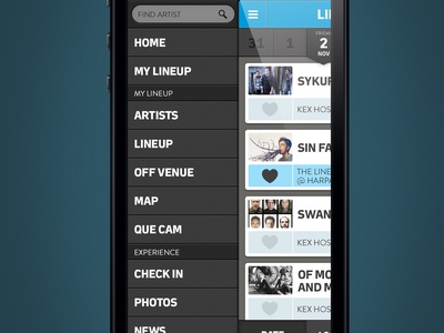 Music Festival App (Lineup and Side Navigation) app ios 2x sidenav real pixels datepicker search tagstagstags