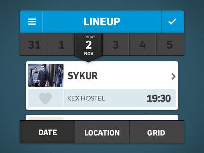 Music Festival App (Filters) ios app datepicker tabs filter sidenav 2x
