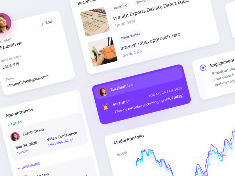 Components for Prevail profile articles components card cards purple interface design ui