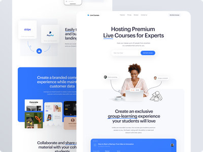 Hosting Premium Live Courses for Experts landing landing page design interface ui