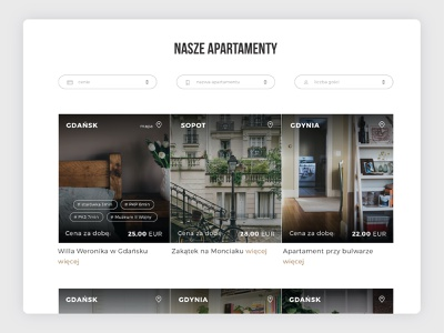 List of apartments user experience user interface modern apartments for rent sopot gdynia gdańsk