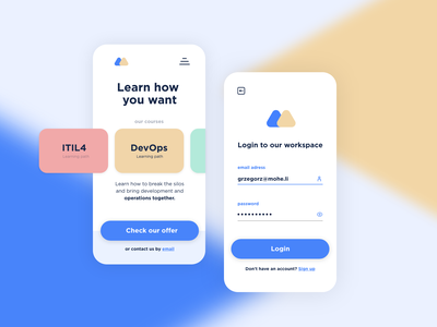 Learning app - concept stage app design triangle login concept ui learning app learning app