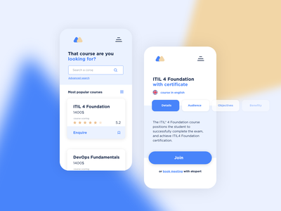 Learning app   concept 2 blue ux ui mobile app learn