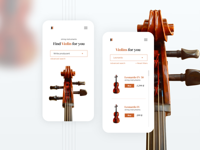 Music shop - concept brown violin design ui ecommerce instruments music