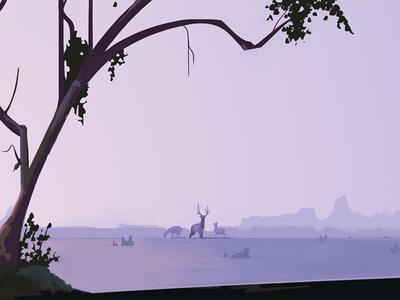 Open Range hunting elk nature purple photoshop digital painting painting illustration