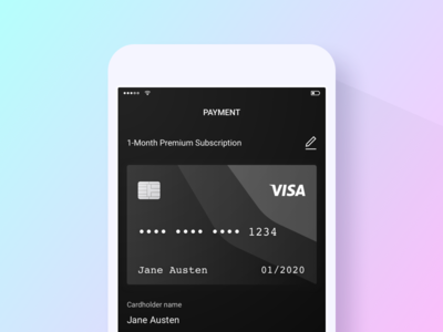 Payment ux ui simple purchase payment pay gradient credit card app