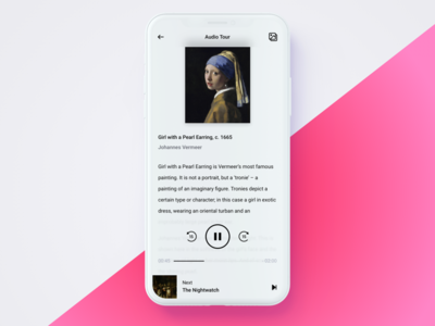Audio and Visual Tour App play art gallery product design visual tour museum iphone x flat audio attraction app ui ux