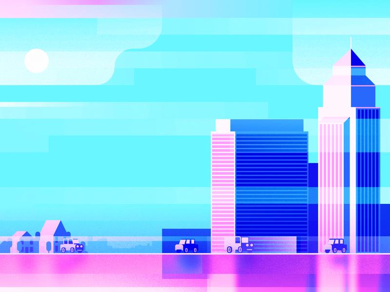 City Landscape landscape city commute flat illustration travel