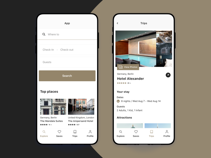 Travel App ux ui trip travel product photo mobile hotel gold flat design booking app