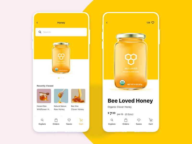 Sweet Like Honey web ux ui shop product photo order natural mobile icon honey food flat ecommerce design color cart bee app