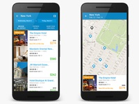 Android Priceline Hotel Listing and Map