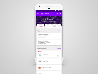 Android Jet Account Screen ui ux design shopping material jet android