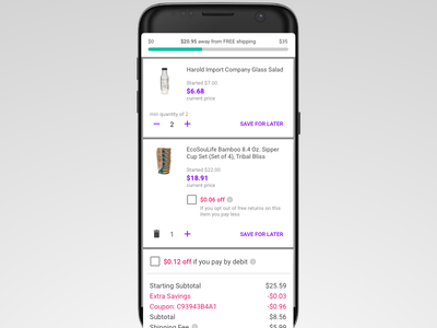 Jet Android Cart cards native app jet ux ui material android