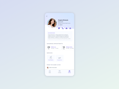 User Profile - Daily UI 006 medical medical app mobile app design mobile user profile user profile daily 100 ui  ux design uidesign daily ui dailyui ui design