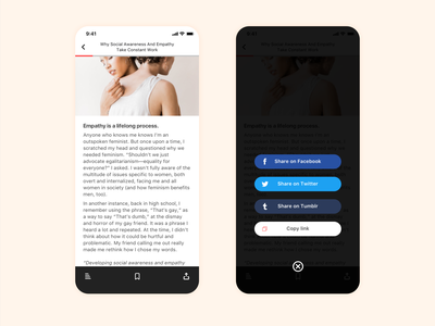 Social Share - Daily UI 010 reading app blog app news app dailyui 010 social sharing social share app mobile ui  ux design daily 100 daily ui uidesign ui design dailyui