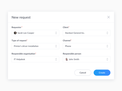 New request modal window