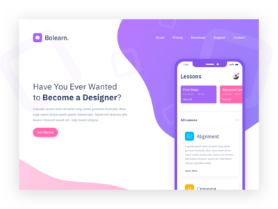 Bolearn landing page concept