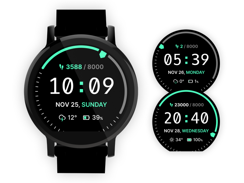 Oxygen Mono Watch Face oxygen mono black ui amazfit watch face watch ui watch