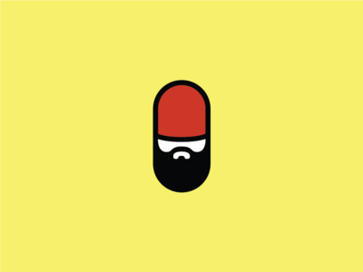 Bearded Pill logo recovery hair growth red medicine pill beard