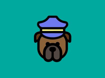 Guard Dog animal k9 canine beware fierce colors caution flat bulldog police dog guard