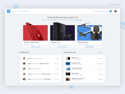 Grabr.io redesign concept marketplace homepage user experience user interface web design concept redesign grabr.io