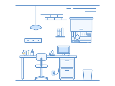 Office living home house chair computer illustration blue laboratory lab office