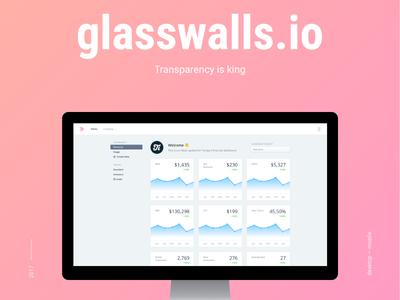 Glasswalls.io dashboard ui uiux interface web numbers finance dashboard transparency glasswalls