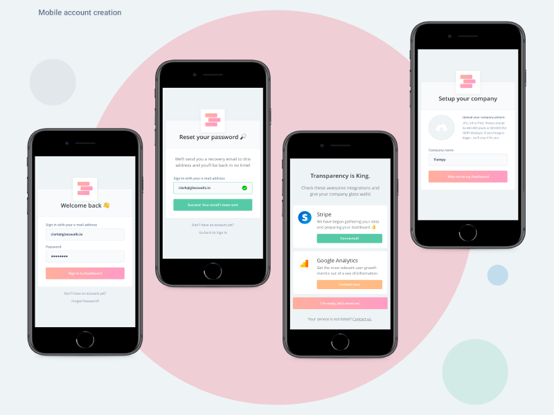 Glasswalls io mobile signup by Ramiro Manzolido Ares on Dribbble