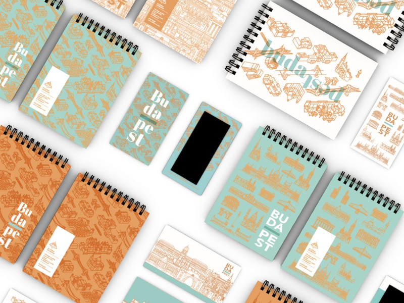 Danube collection • paper product design city pattern pattern notebook mint hungary city city illustration gift paper product papercraft souvenir budapest vector illustration