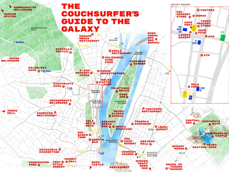 The Couchsurfes' Map vector vectorart affinitydesigner illustration infographic travel host couchsurfing hungary budapest city map