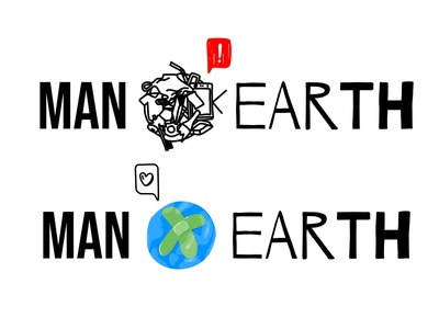 Man with Earth graphic affinity designer illustrations earth day manvsearth manwithearth zerowaste ecology eco green enviroment savetheearth planet man earth branding logo hungary vector illustration