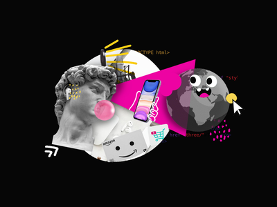 Teach is eating the world - Illustration tech marketing minimal vector illustration branding design clean agency