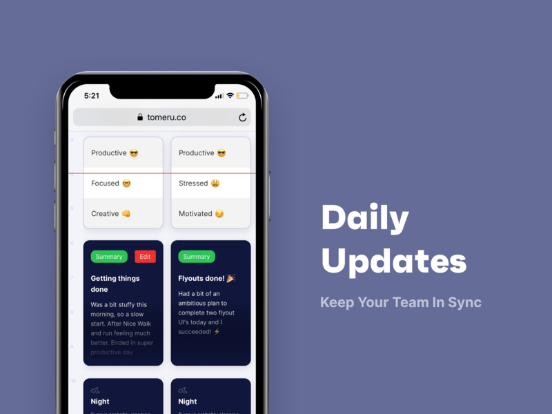 Daily updates daily update responsive empathy beta productivity ios mobile app ux ui clean agency