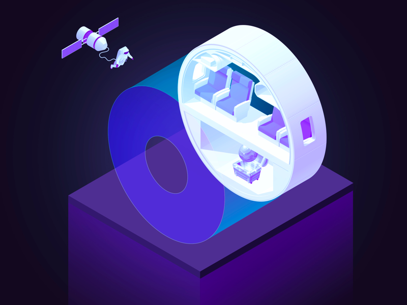 36 Days O space vectorial circular type perspective ovni letters isometric illustration colored alphabet
