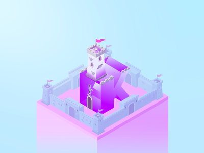 36 Days K vectorial purple letters king type isometric illustration circular alphabet