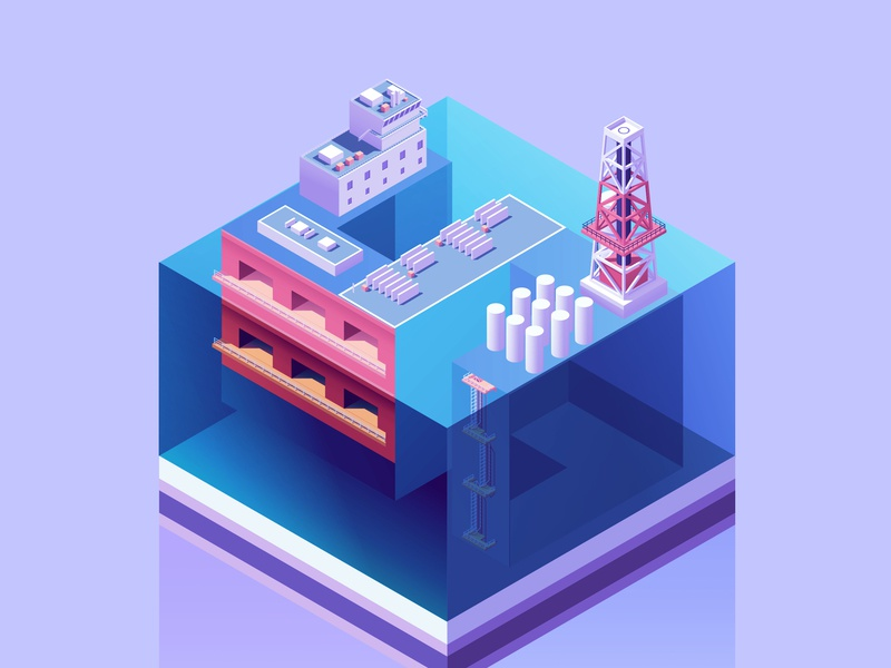 36 Days S port blue isometria sea submarine purple isometric illustration 36daysoftype