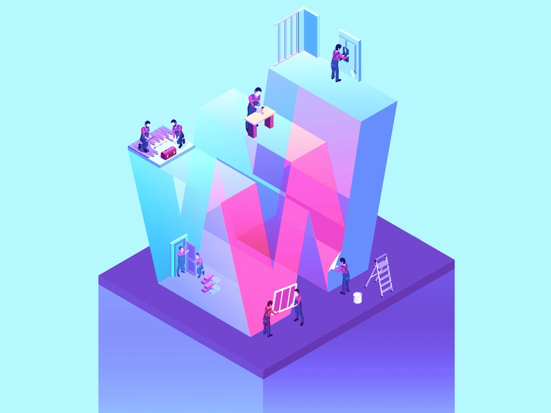 36 Days W concept magenta isometria perspective purple work workers working letters isometric 36daysoftype05 36days-w 36 days of type