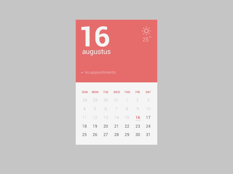 Design Calendar Using Javascript : Calender flat by sebastiaan scheer dribbble