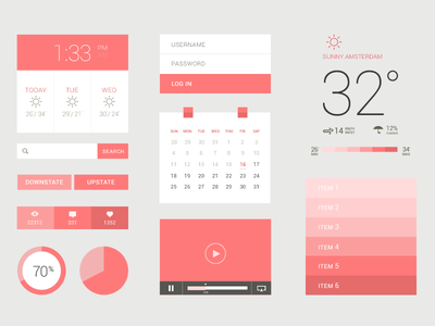 Freebie PSD: Flat / UI Kit ui ux interface flat clean iphone search login light graph like user comment download kit calender weather movie list