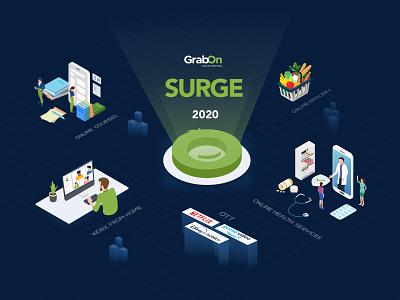 GrabOn Surge 2020 flat design vector sketchapp ecommerce ui branding illustration isometric uiux grabon