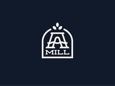 Pillsbury A-Mill appartment condo plant letter a line minimal historic grain water mill minneapolis pillsbury logo mark logo design logo