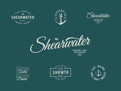 Shearwater Update lock up anchor script tackle bait wisconsin lake bar fishing identity design brand assets line art badge logo
