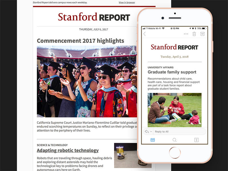 Stanford Report Email Template mobile email