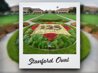 Stanford's 125th Anniversary logo in flowers