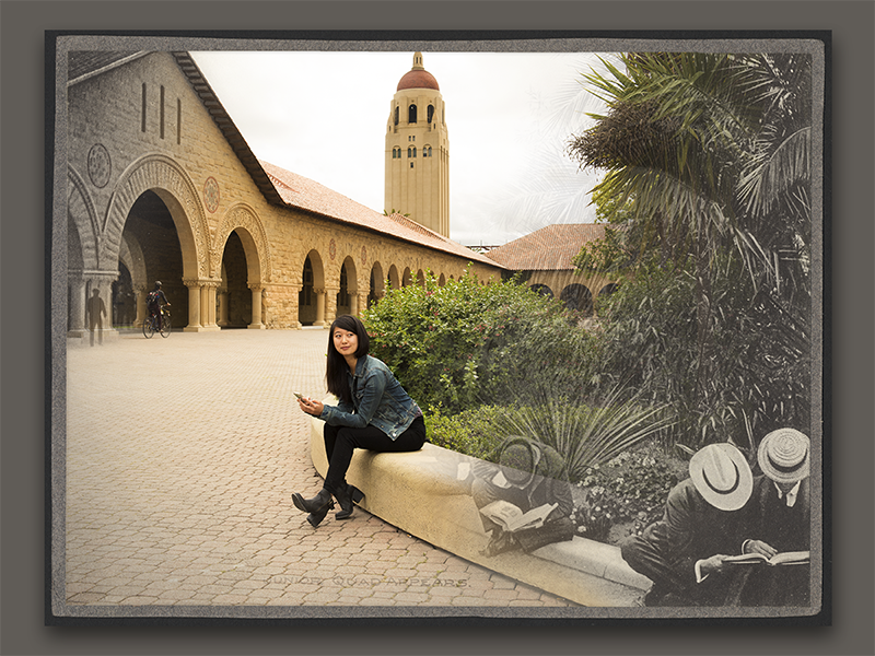 Photo blend for Stanford's 125th Anniversary photo